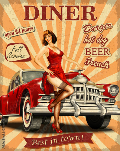 American Diner vintage poster with retro car and pin-up girl. Fototapete