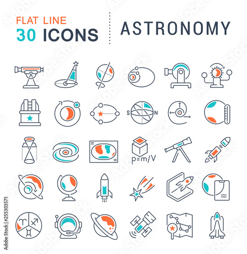 Foto Set Vector Line Icons of Astronomy.