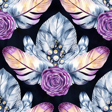 Seamless Pattern With Delicate Feathers, Roses, Jewelry Hand-drawn Watercolor