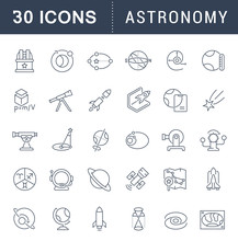 Set Vector Line Icons Of Astro...