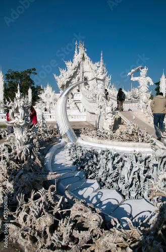 Photo Chiang Rai Thailand Dec 27 2018, Wat Rong Khun entrance bridge and the cycle of