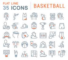Set Vector Line Icons Of Baske...