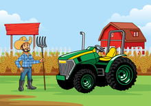 Farmer With The Tractor At The Farm