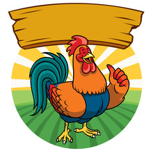 Happy Chicken With Cartoon Style