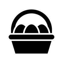 Easter Egg Basket Vector, Isol...