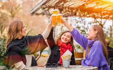 Group Of Women Best Friends Clinking Glasses Of Beer In Restaurant - Female Friendship And Having Fun Concept