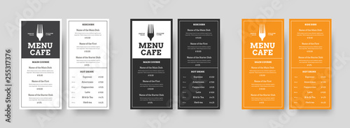 Set of vector menu Format DL restaurants and cafes with an outer stroke and blocks for text.