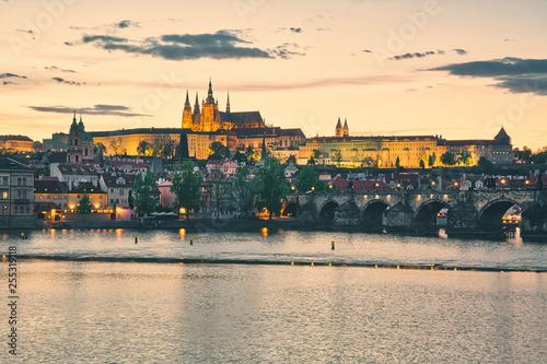 Fotografie, Obraz  View to Prague castle across Vltava river, beautiful evening panorama