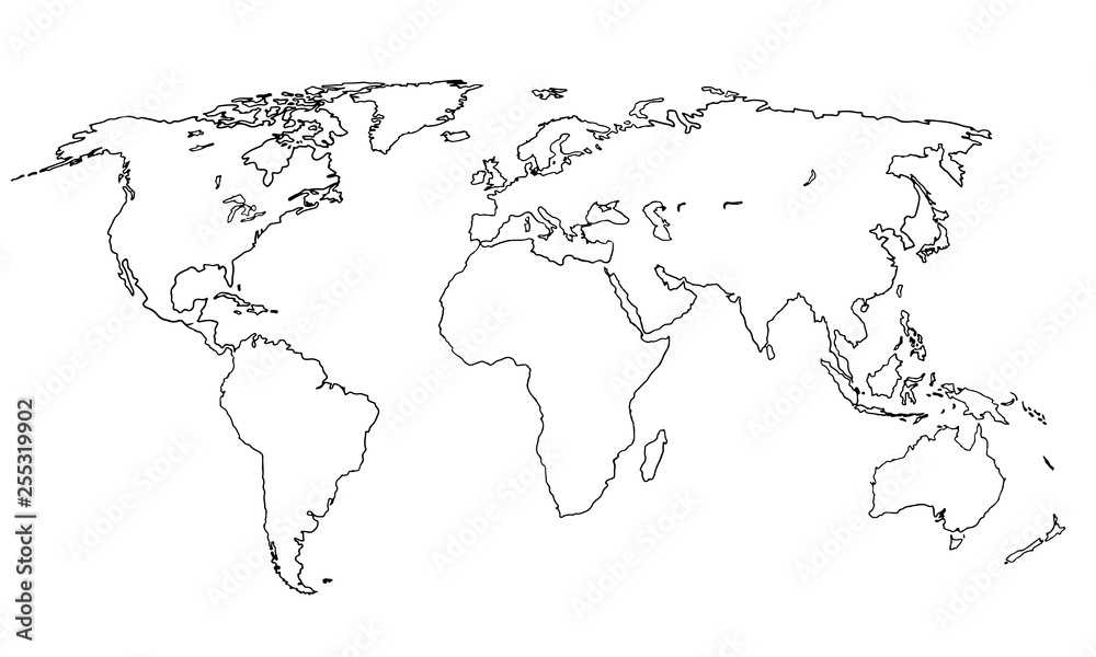 Fototapety, obrazy: Best doodle world map for your design. Hand drawn freehand editable sketch. Planet Earth simple graphic style. Vector line illustration, EPS 10