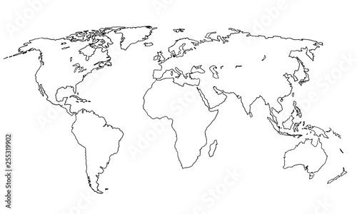 Fotografie, Obraz  Best doodle world map for your design