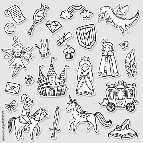 Set of a fashion fairy tale and magic objects isolated on white background. Doodle Vector Illustration. Good for stickers, badges, wallpaper, coloring page, indie game or greeting card.