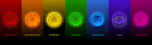 Chakra Symbols Set On Dark Bac...
