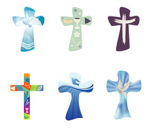 Set Modern Isolated Vector Christian Crosses. Religious Signs. Cross Collection With Symbols Of Christianity