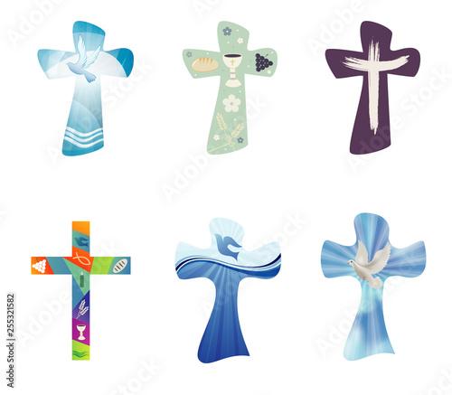 Obraz na plátne Set modern isolated vector Christian crosses