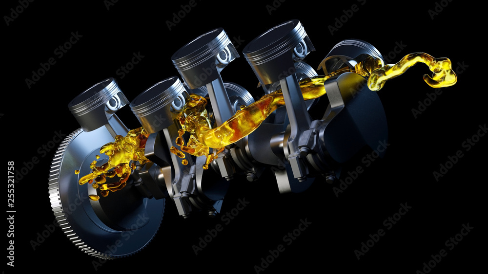Fototapety, obrazy: 3d illustration of car engine with lubricant oil on repairing. Concept of lubricate motor oil