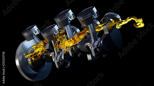 Fototapeta 3d illustration of car engine with lubricant oil on repairing. Concept of lubricate motor oil obraz
