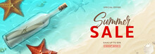 Advertisement Web Banner For Summer Sale. Horizontal Banner With Realistic Glass Bottle With Message, Seashells And Starfishes On Beach In Sea Water. Vector Illustration With Special Discount Offer.
