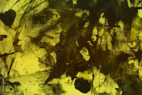 Fotografie, Obraz  pretty grunge yellow randomly painted canvas, fabric with color paint spots and blots texture for design purposes