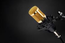 Gold Condenser Microphone On Black