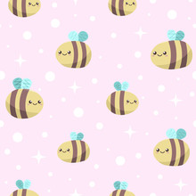Seamless Pink Background With Cute Funny Smiling Honey Bees