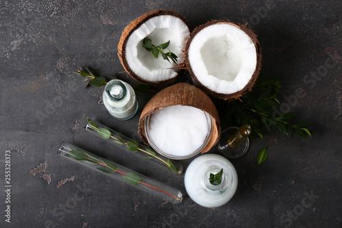 Fototapeta Cream with natural ingredients on dark background obraz na płótnie