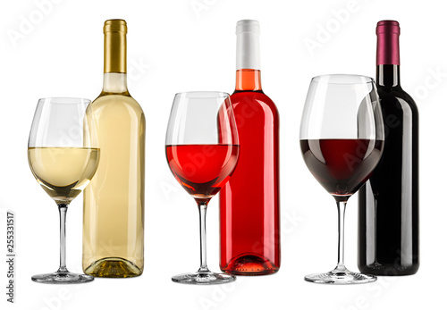 Tablou Canvas Row of exquisite red white and rose wine bottle glass set collection isolated on