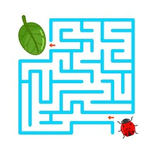 Maze Game For Children. Help The Ladybug Crawl To The Leaf.