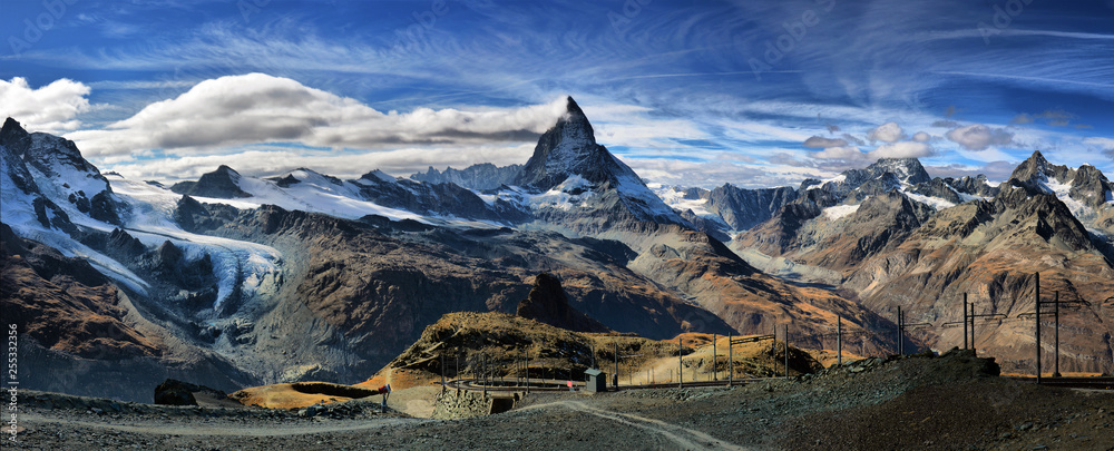 Fototapety, obrazy: Amazing View of the panorama mountain range near the Matterhorn in the Swiss Alps. Trek near Matterhorn mount.