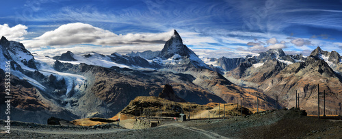 Amazing View of the panorama mountain range near the Matterhorn in the Swiss Alps. Trek near Matterhorn mount.