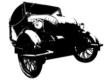 Old Car Veteran Illustration On White Background, Velorex