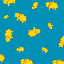 Blue Background Yellow Sheep Pattern