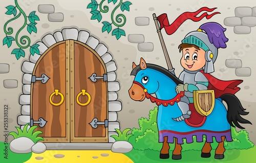 Foto op Canvas Voor kinderen Knight on horse by old door theme 1
