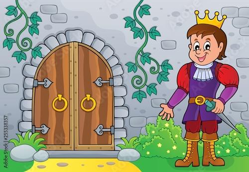 Foto op Canvas Voor kinderen Prince by old door theme image 1