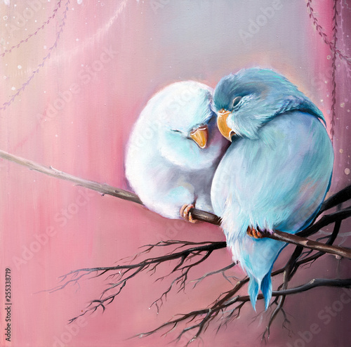 Original oil painting on canvas of two parrot lovebird is sitting on branch close each other