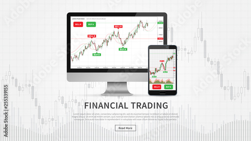 Desktop and smartphone with financial trade charts vector illustration Fototapete