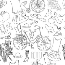 Vintage Fashion Accessories, Flowers And Bicycle. Vector Seamless Pattern, Retro