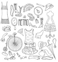 Set Of Vintage Fashion Accessories, Clothes, Bicycle. Vector Illustration, Retro Style.
