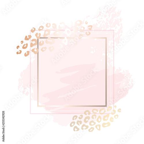 Golden Pink Blank Nude Art Frames Card Design Brush Stroke