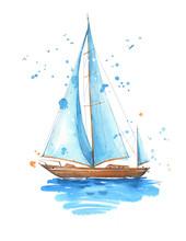 Sailing Boat, Hand Painted Watercolor Illustration