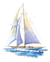 Sailing Boat, Hand Painted Wat...
