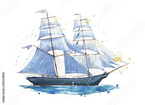 Fotobehang Art Studio Sailing ship, hand painted watercolor illustration