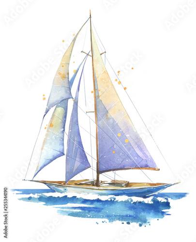 Sailing boat, hand painted watercolor illustration Fototapeta