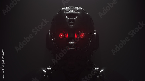 Photographie Cyborg with red luminous eyes on black background