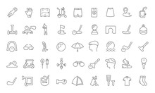 Set Vector Line Icons Of Golf.