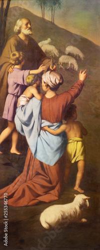 REGGIO EMILIA, ITALY - APRIL 12, 2018: The painting of sheepherds in church Chiesa dei Cappuchini by Padre Angelico da Villarotta (1900 - 1987).