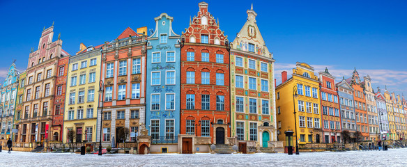Gdansk panorama, a famous old Polish street Long Market