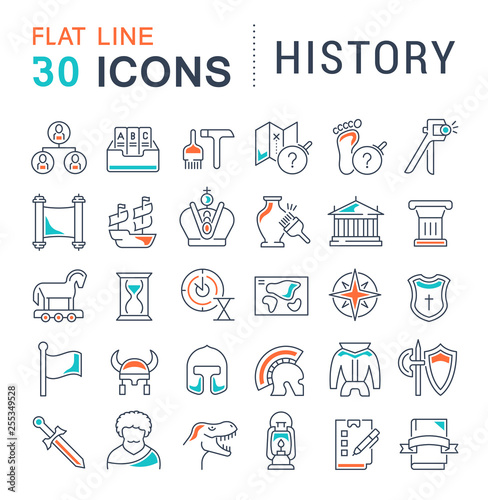 Foto  Set Vector Line Icons of History.