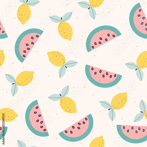 Papiers peints Artificiel Seamless pattern with exotic fruits. Summer cute print. Vector hand drawn illustration.