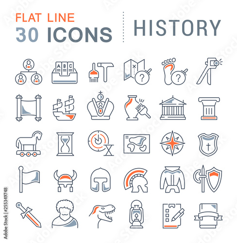 Photo Set Vector Line Icons of History.
