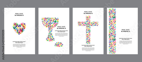 Classic, universal kids hand prints rainbow religious template poster, flyer, invitation card My first communion in german language